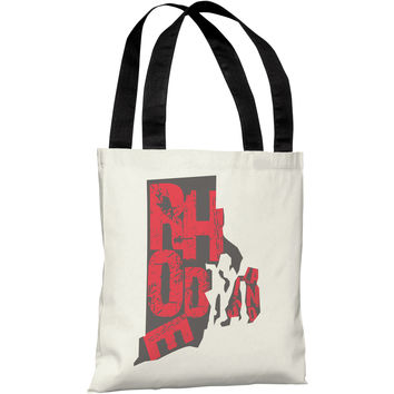 """""""Rhode Island State Type"""" 18""""x18"""" Tote Bag by OneBellaCasa"""