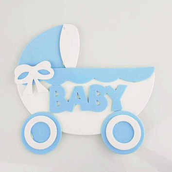 Baby Shower Foam Decor, 7-inch, Stroller, Light Blue