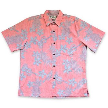 ukulele fun red reverse print hawaiian cotton shirt