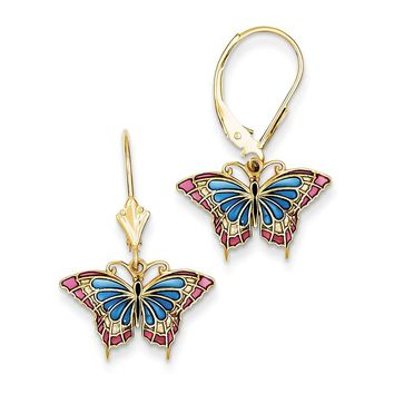 14k Yellow Gold Butterfly with Blue Stained Glass Leverback Earrings
