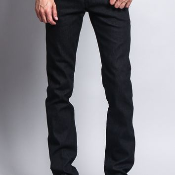 Men's Skinny Fit Raw Denim Jeans DL938 (Black)