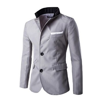2017 HOT Casual Slim fit Stylish Single Breasted Suit Blazer Mens Coat Male Fashion Stand Neck Formal Clothing PX17