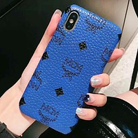 MCM Fashion New Letter Pattern Print More Color Protective Cover Couple Personality Phone Case Blue