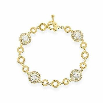18K Gold Over Sterling Silver CZ Circle Link Bracelet