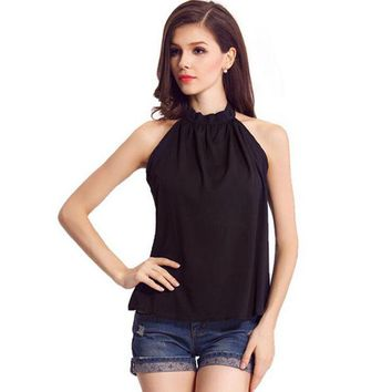 LMF9GW 2016 Sexy Women Off Shoulder Summer Sleeveless Chiffon Tops Blouse Blusas New Arrival Solid Black Pink Women Blouses Shirt