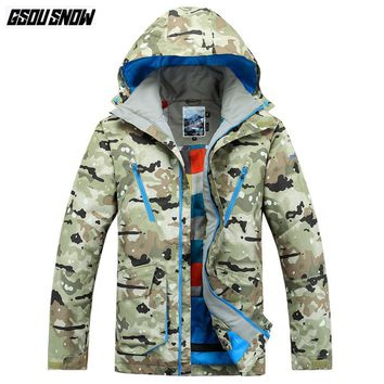 GSOU SNOW Brand Ski Jackets Men Camo Hoodie Skiing Snowboarding Jackets Winter Waterproof Outdoor Sports Coats Male Snow Clothes