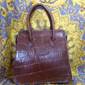 Vintage Mulberry croc embossed brown leather tote bag in trapezoid shape. Perfect vintage daily purse. Roger Soul era.