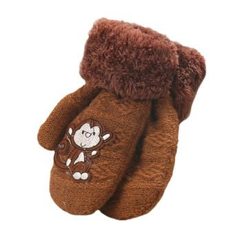Cute Monkey Pattern Kids Thick Gloves Infant Baby Girls Boys Winter Warm Gloves for Children Glove