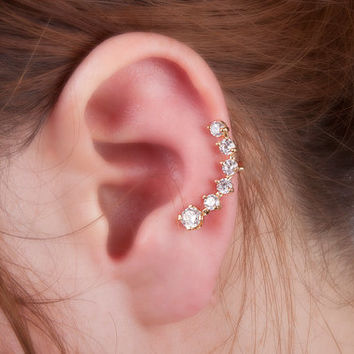 Crystal ear cuff  big dipper earrings no piercing ear wrap earrings ear crawler clip on non pierced earrings gold or silver