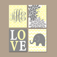 GIRL ELEPHANT Nursery Wall Art, Yellow Gray Nursery Artwork, Bedroom Pictures, Above Crib Decor, Flower Burst Love, CANVAS or Print,Set of 4