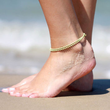 Green Anklet - Multistrand Ankle Bracelet - Gold Anklet - Foot Jewelry - Foot Bracelet - Chain Anklet - Summer Jewelry - Beach Jewelry