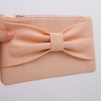 Big Sale -Evening clutch peach apricot  bow wristlet clutch,bridesmaid gift ,wedding gift -Set of 1,2,3,4,5,6,7,8,9,10,11,12, Piece 9.90
