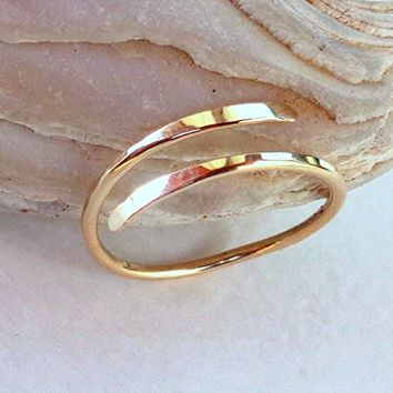14K Solid Gold Toe-Midi-Knuckle Ring Hammered Adjustable size