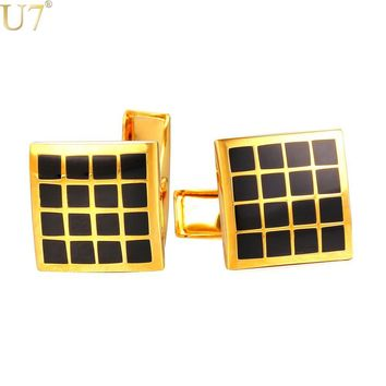 U7 Brand Cufflinks For Mens High Quality Gold Color Trendy Checker Square Enamel Men Suit Jewelry & Cuff Link Gift Box C022