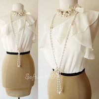 NEW Forever 21 Ivory Beige One Shoulder Bodice Fitted Skirt Contrast CHIC Dress