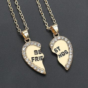 2pcs Best Friends Love Pendant  Necklace