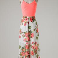 Royal T Collection Brand Pleated Ivory Floral Maxi Dress with Neon Coral Bodice