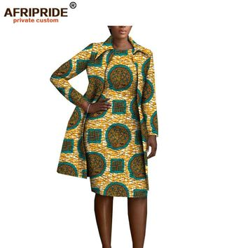 african clothing 2 pieces set for women AFRIPRIDE full sleeve knee-length jacket+sleeveless knee length dress set A1826029