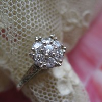 14KT Diamond Cluster Engagement Ring    Circa 1920