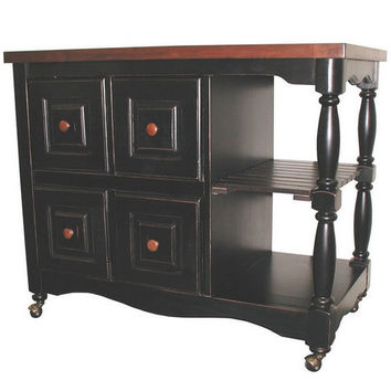 4 Drawer Kitchen Cart in Antique Style Black