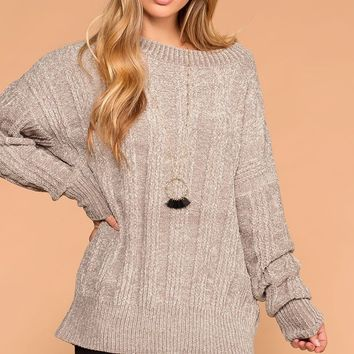 Fawna Light Grey Chenille Knit Sweater