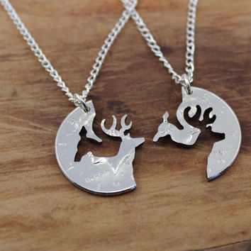 Buck and Doe necklace, interlocking love coin, engaged couples, hunter jewelry, half dollar hand cut coin