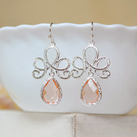 Blush bridesmaid earrings pink bridesmaid blush wedding jewelry peach drop earrings dangle necklace jewelry bridesmaid gift set of 4 5 6 7 8