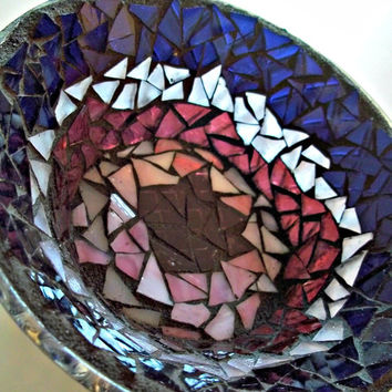 Purple Glass Mosaic Dish