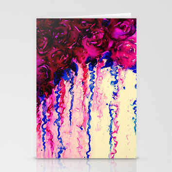 PETALS ON PARADE, Oxblood Marsala Red Royal Blue Floral Abstract Watercolor Roses Flowers Painting Stationery Cards by EbiEmporium