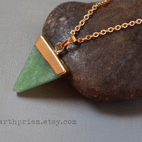 Jade Green Adventurine Triangle Gemstone Pendant Necklace Gold Plated Chain Green Stone Pyramid Quartz Crystal