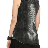 Black Acid Wash Spine Back Girls Top