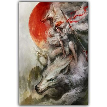 Fantasy Art Anime Princess Mononoke Forest Home Decoration Silk Canvas Fabric Poster Boys And Girls Bedroom Decoration DM600