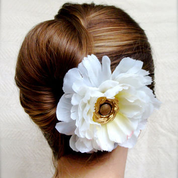 "Ivory Flower Hair Clip, Fascinator, Bridal Hair Accessory - ""Springtime in Winter"""