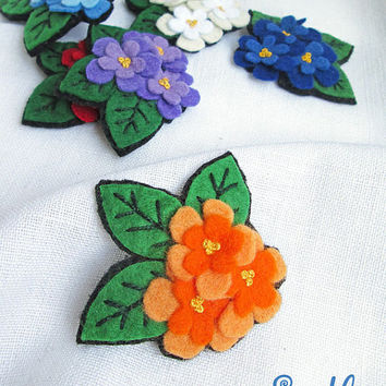 Brooch Felt Flower | Textile Art Pin | Color Flowers | Red Pink Violet Purple Blue Yellow White Orange Flower | Tiny Brooch | Broach Pin