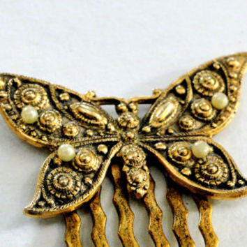Butterfly Hair Comb Vintage Brass Butterfly Hair Accessory Detailed Design