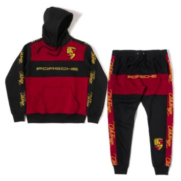 Club Foreign Sports Suit Black Horse Embroidered Hoodie and Sweatpants Burgundy Black