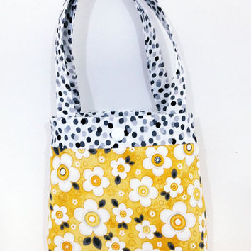 Toddler tote little girl purse yellow daisies tote flower tote daisy purse little girl birthday gift toddler gift water resistant lining