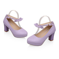 Super High Heel Women Thin Shoes Platform Buckle Round  purple  35