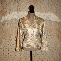 Gold Damask Jacket Evening Jacket Cocktail Jacket Jacquard Womens Jacket Size 6 Jacket Small Medium Womens Clothing