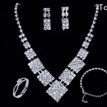 Fashion 925 Silver Crystal Rhinestone Bride Wedding Jewelry Necklace Earrings Rings Bracelets Silver Jewelry Sets top-006