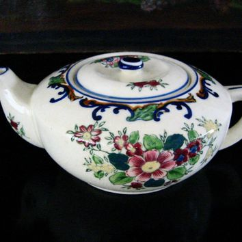 Japanese Floral Porcelain Teapot Hand Painted Marked