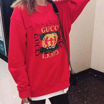PEAPUF3 GUCCI Fashion Casual Long Sleeve Sweater Pullover Sweatshirt G