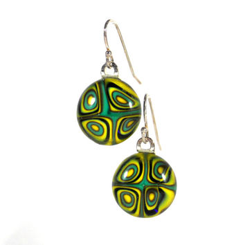Circles of Green, Yellow and Chocolate Brown Fused Glass Earrings