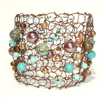 Copper Cuff Bracelet Unique Wire Knit Chocolate Turquoise Jewelry Semi Precious Stones Brown Pearl LIMITED edition