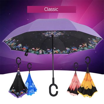 Sun Double Layer Umbrella Women Pink Semsiye Regenschirm Beach Waterproof Man Sunny Reverse Umbrella Rain Women Flower QQD031