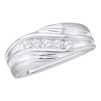 14kt White Gold Men's Round Diamond Wedding Anniversary Band Ring 1/4 Cttw - FREE Shipping (US/CAN)