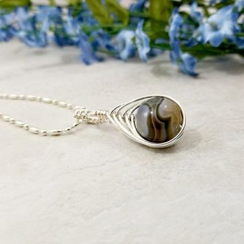 Botswana Agate Wire Wrapped Necklace - Herringbone Wire Wrap Pendant - Wire Woven Jewelry - OOAK Jewelry - Gifts for Her