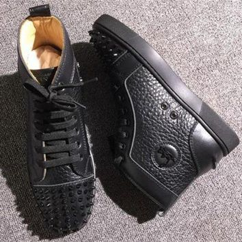 ONETOW Cl Christian Louboutin Lou Spikes Style #2217 Sneakers Fashion Shoes