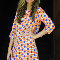 Shape It Up Dress: Blue/Orange | Hope's