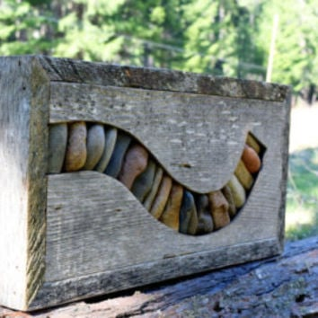 New Design Reclaimed Wood and stone sculpture with colorful stones Wood sculpture wall art wooden art wood and rock art